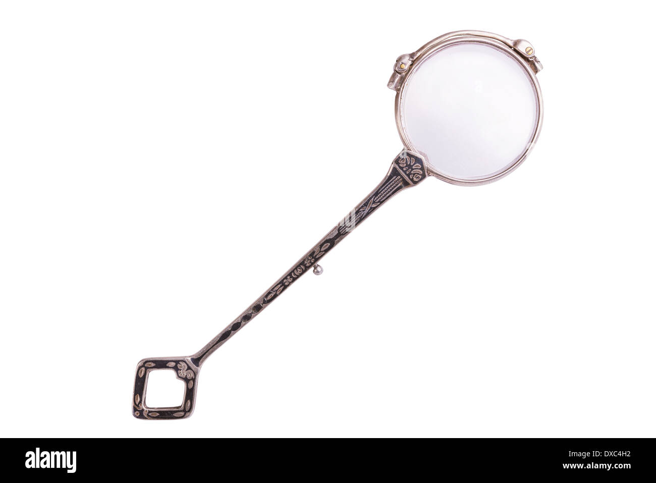 Folded rarity vintage lorgnette isolated on white background - Stock Image