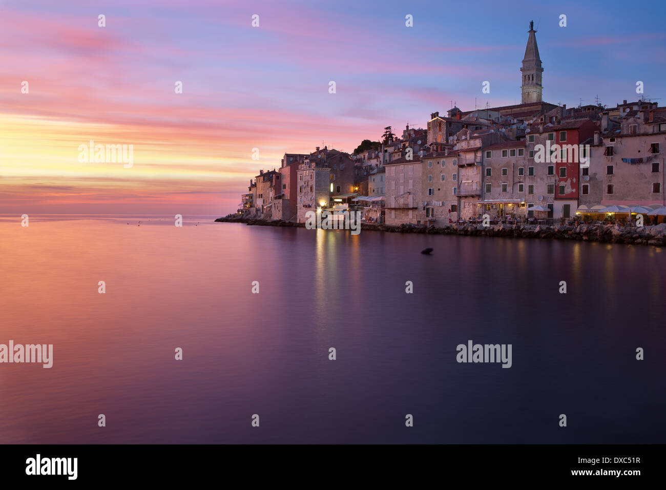 South face of town Rovinj in blue hour, Istria, Croatia - Stock Image