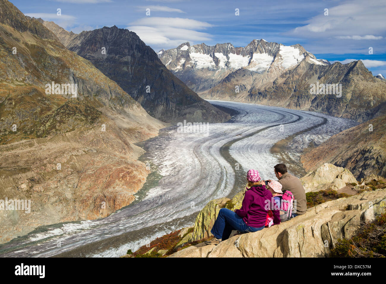 Aletsch Glacier, Valais, Swiss Alps, Switzerland, Europe - Stock Image