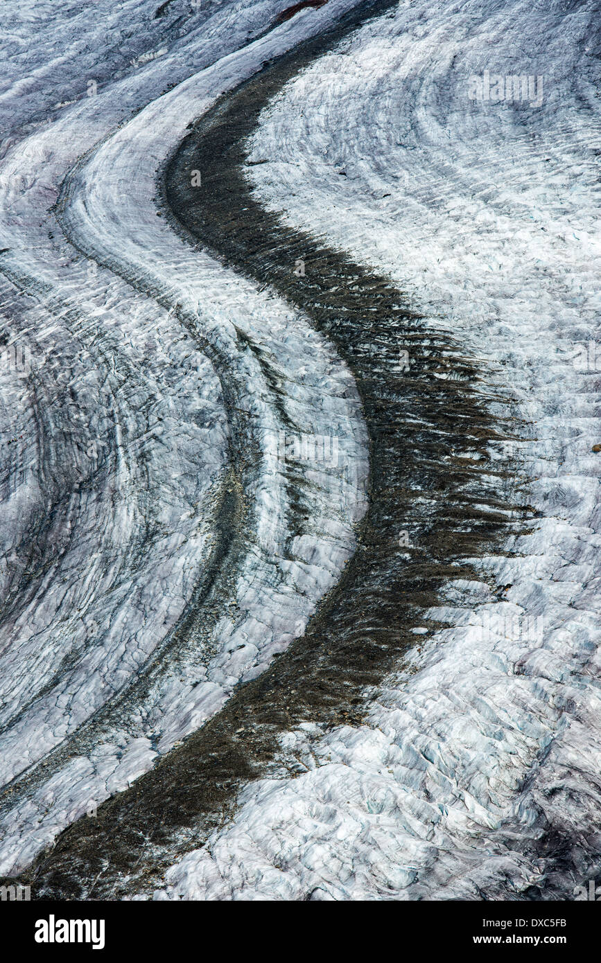 Glacier street with lots of ice, abstract and minimalist image. Aletsch Glacier Moraine, Valais, Switzerland, Europe - Stock Image
