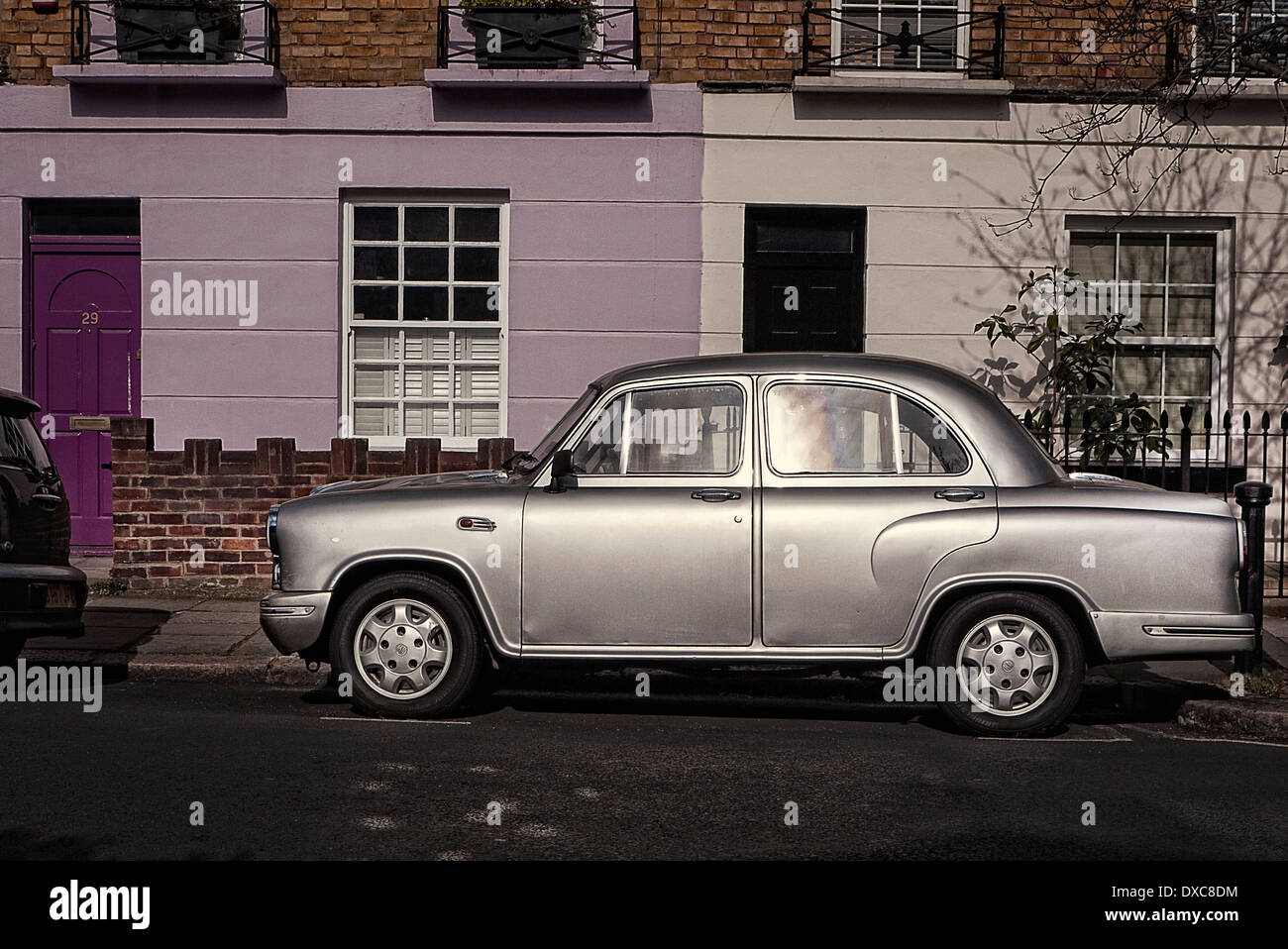Fullbore Ambassador Grand Indian Automobile parked on a London Street - Stock Image