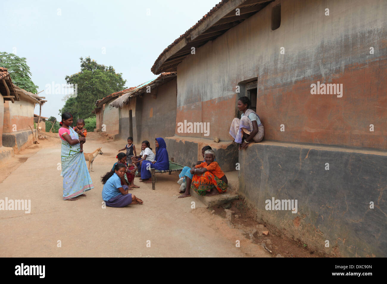 Group of tribal women in leisure time. Santhal tribe. Hardhekitand village, Dist Bokaro, Jharkhand, India - Stock Image