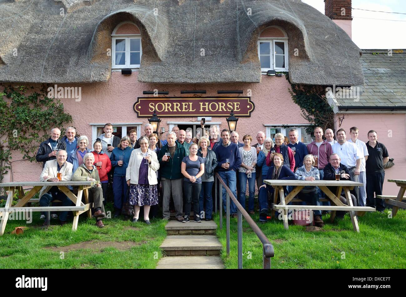 Sorrel Horse, staff and customers. Shottisham. Suffolk. - Stock Image