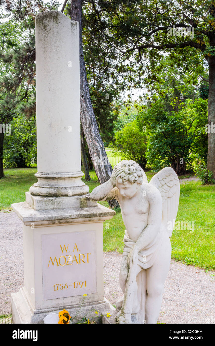 graveside by florian josephu-drouot at the site where composer w. a. mozart presumably was buried, st. marx cemetery, vienna - Stock Image