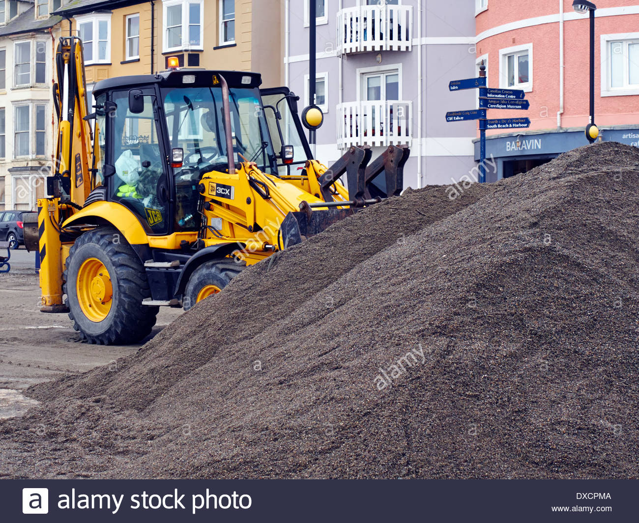 3cx Stock Photos Images Alamy Wiring Diagram Jcb A Backhoe Loader Tractor Parked After Shifting Pile Of Sand On Aberystwyth