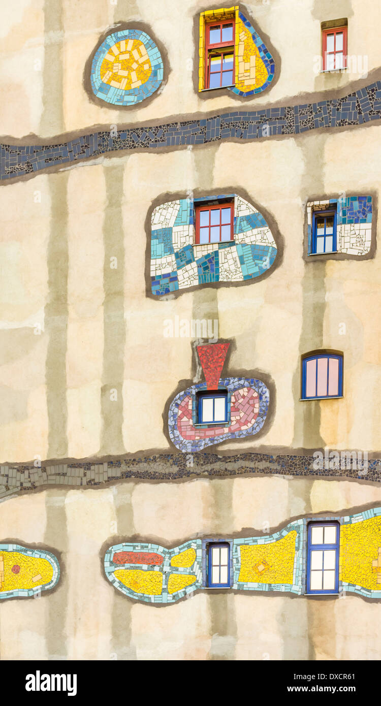 architectural detail of the faccade of the incineration plant _fernwaerme wien_ designed by friedensreich hundertwasser - Stock Image