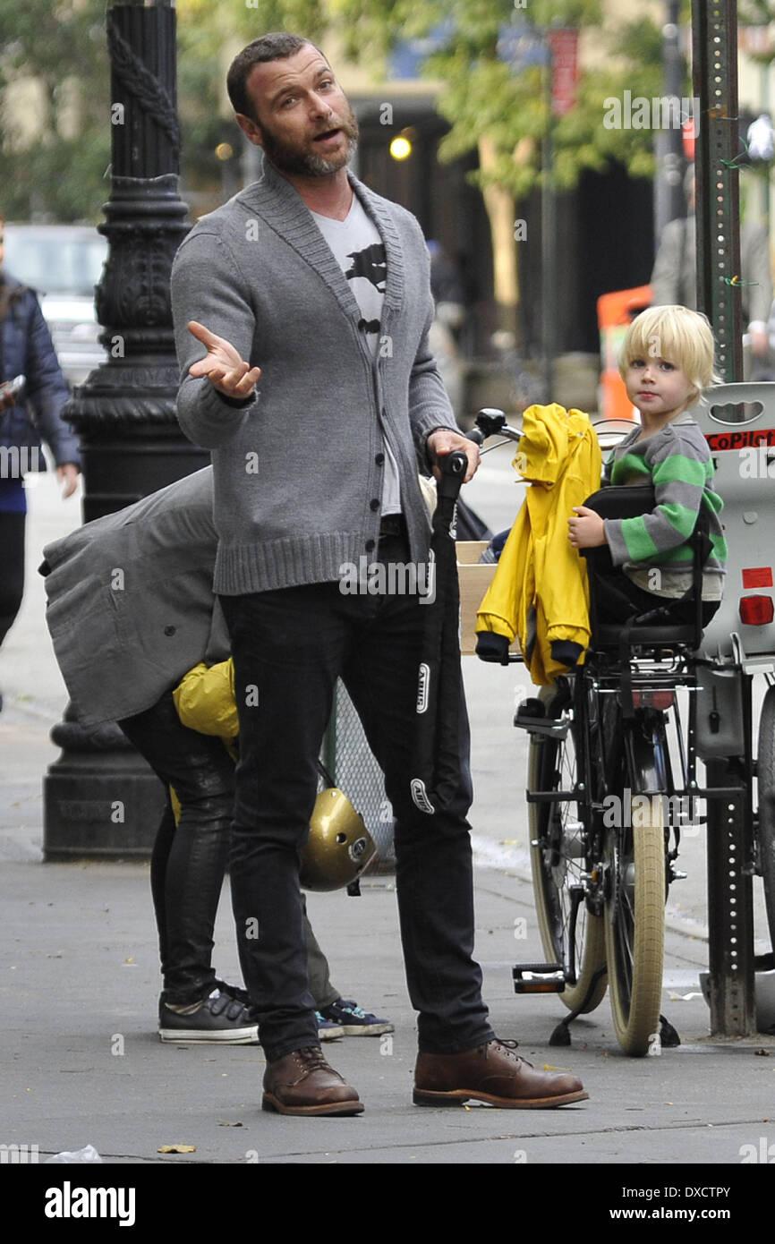 Naomi Watts and Liev Schreiber seen with their children ...