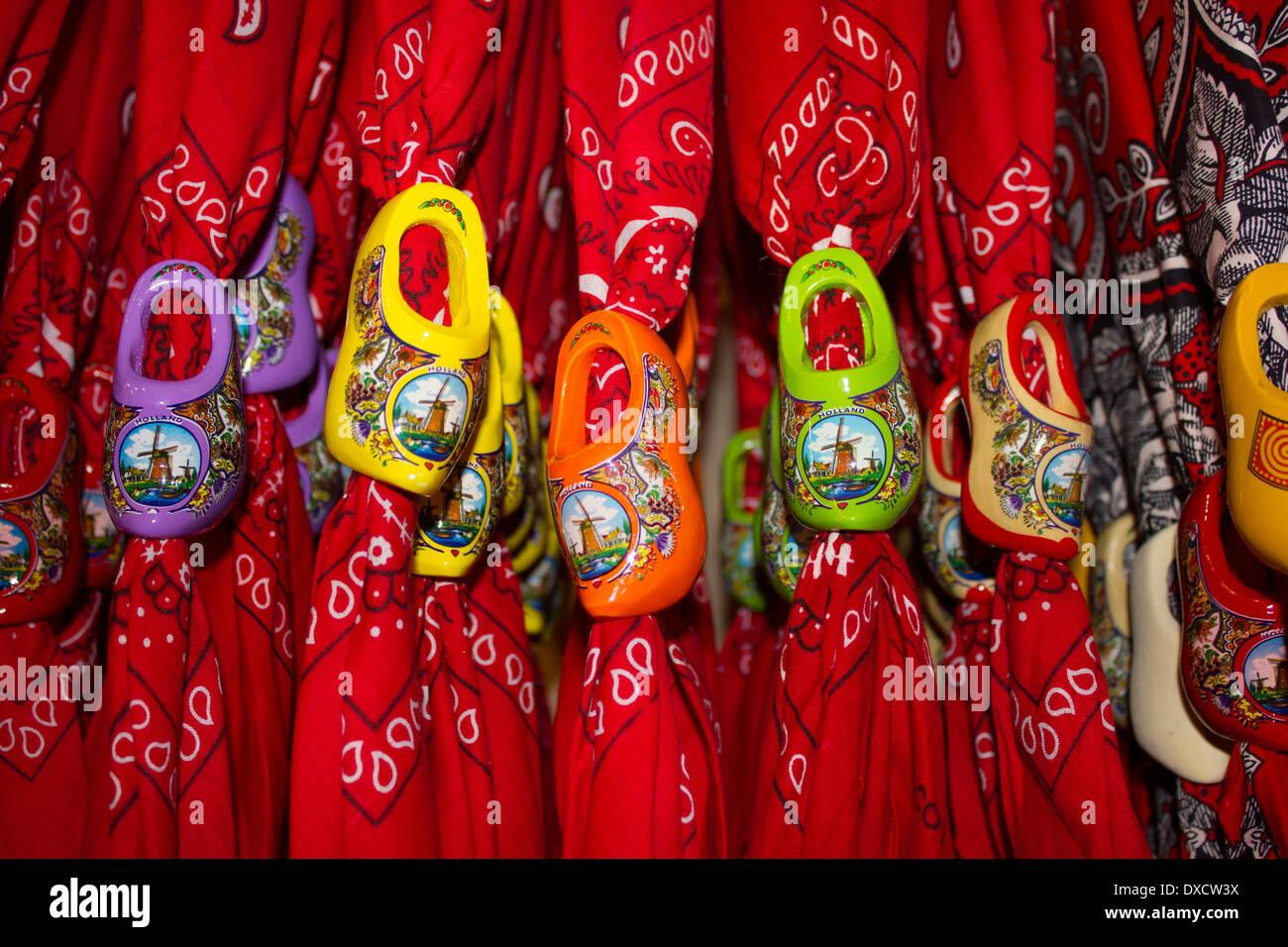 colourful dutch clogs bandana scarf fasteners amsterdam netherlands - Stock Image