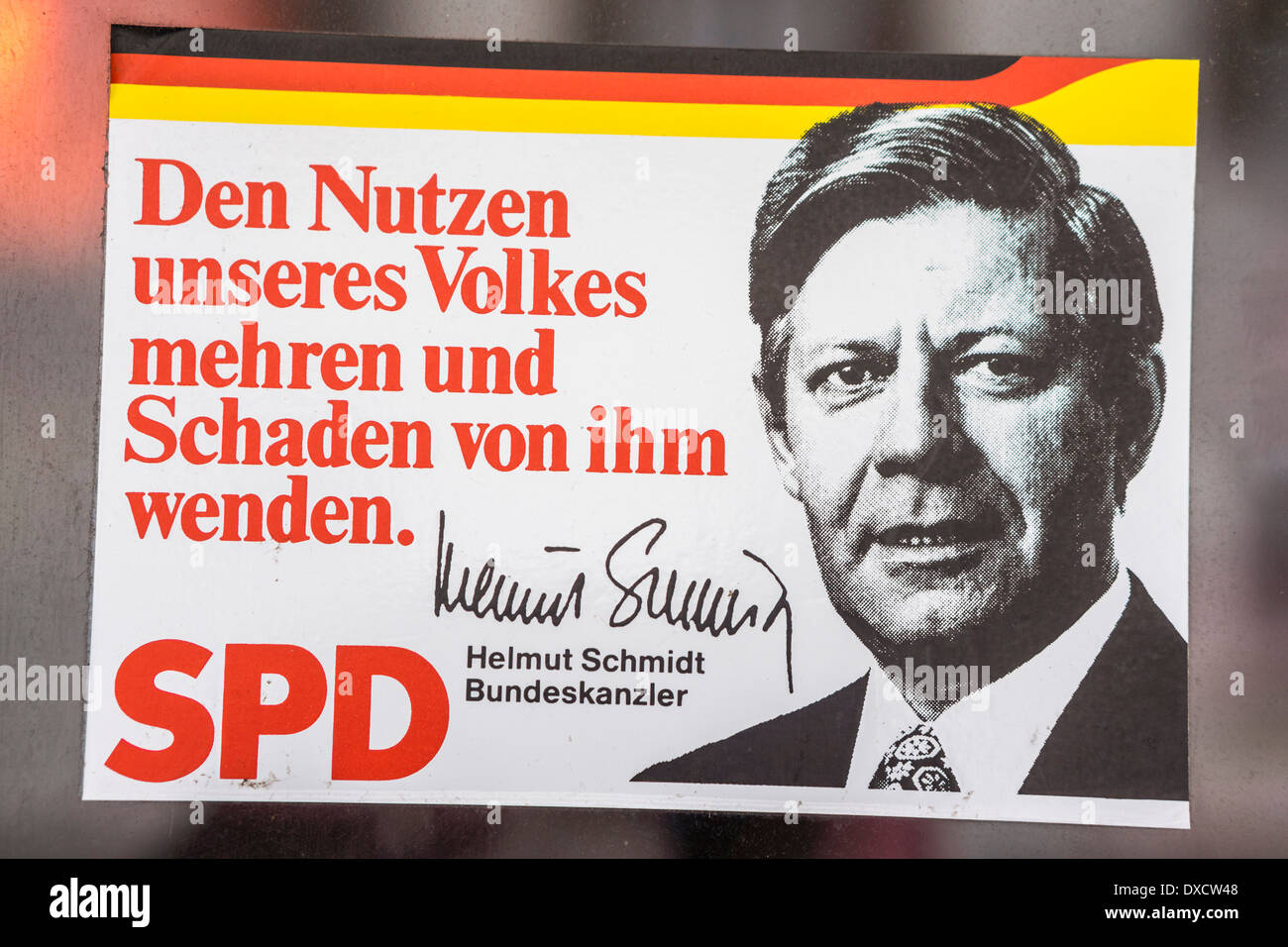 old campaign sticker of the german social democrats party, spd, showing a portrait of the former chancellor helmut schmidt - Stock Image