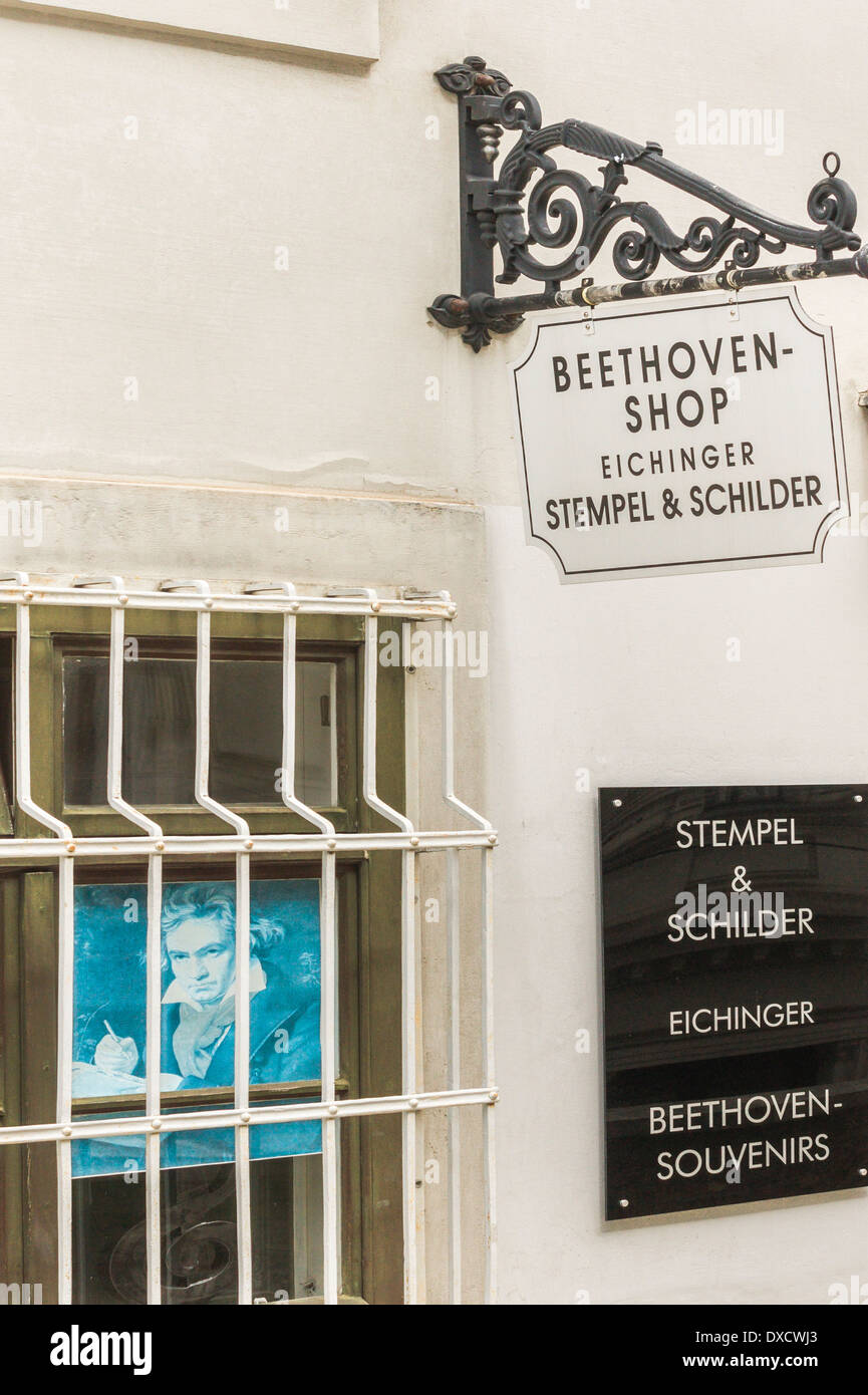 beethoven shop selling rubber stamps, signs and other beethoven souvenirs, vienna, austria - Stock Image