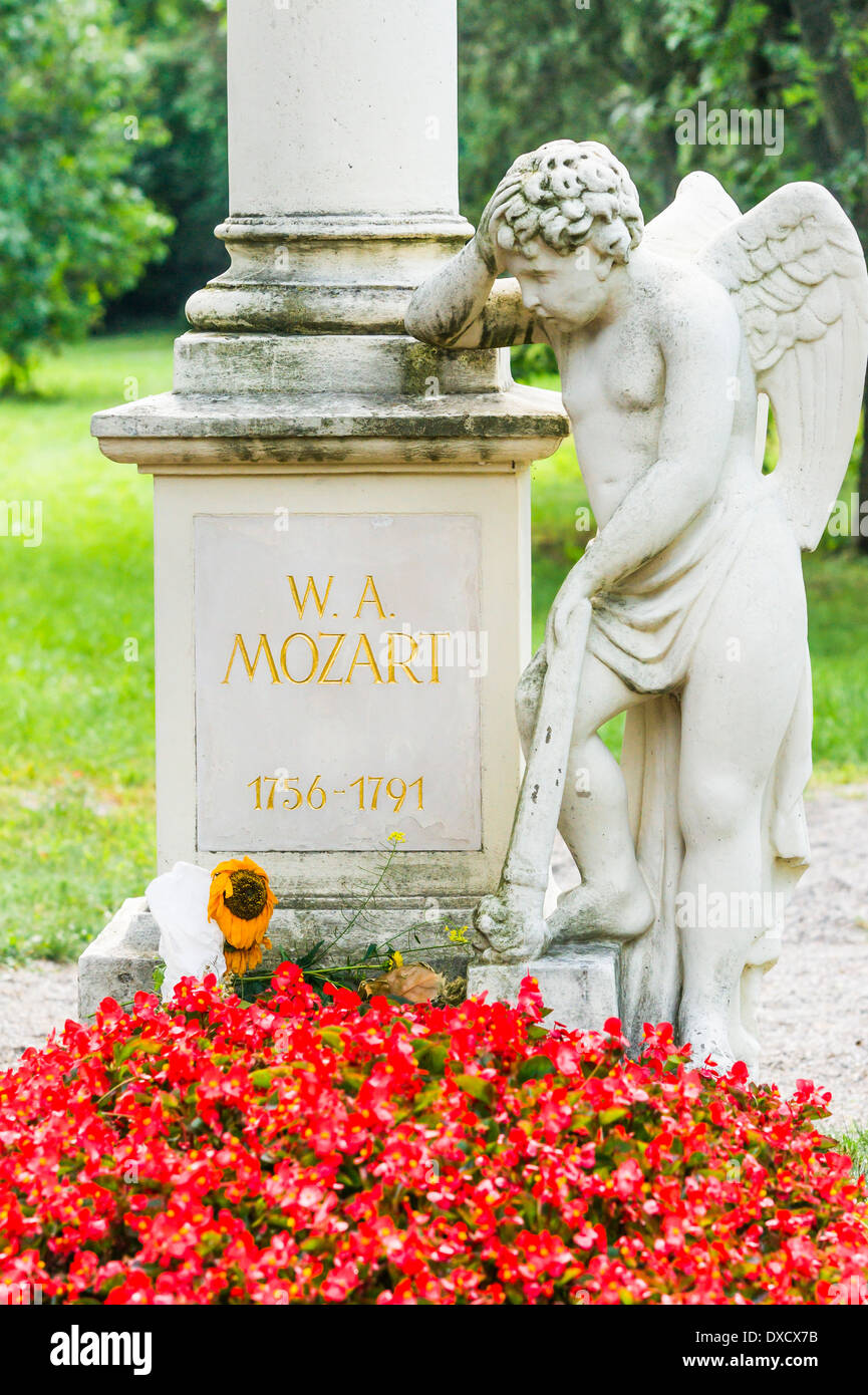 sculpture by florian josephu-drouot at the site where the composer wolfgang amadeus mozart presumably was buried, st. marx cemet - Stock Image