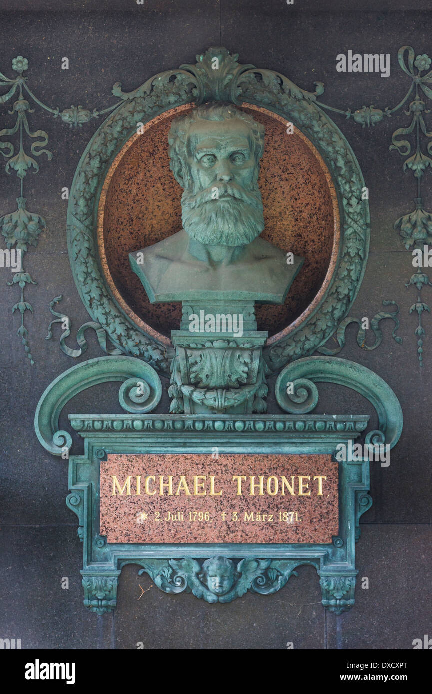 gravesite of michael thonet, cabinet maker and furniture designer, central cemetery, vienna, austria - Stock Image
