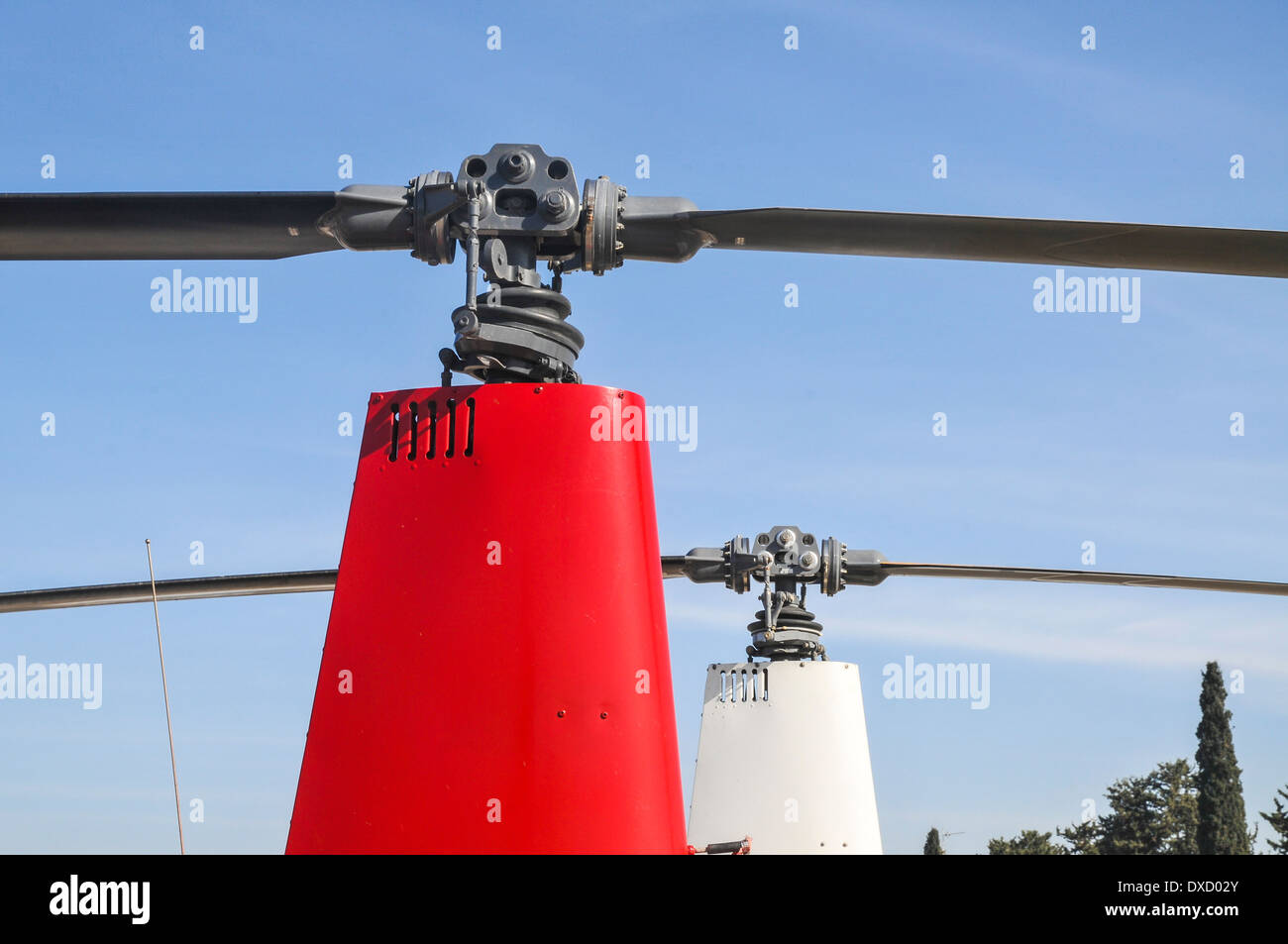 closeup of a helicopter rotor head and blades - Stock Image