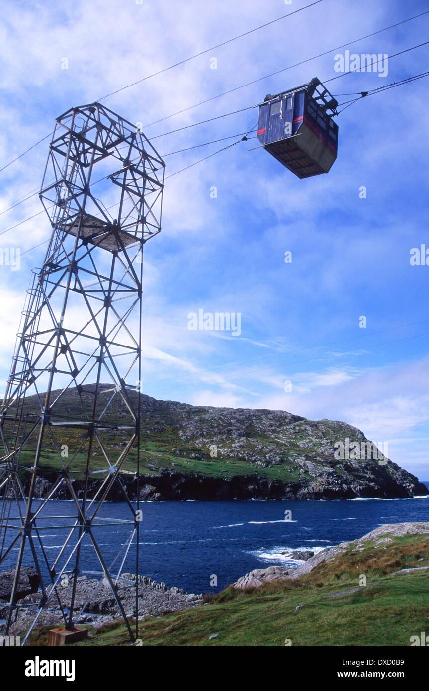 Cable car linking the mainland over Dursey Sound to Dursey Island, Beara peninsula, County Cork, Ireland - Stock Image