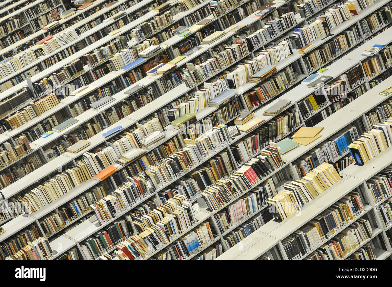 Books in a library - Stock Image