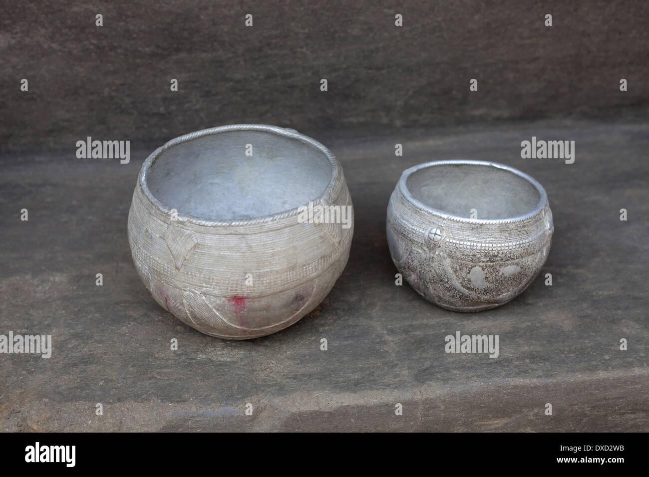 Paila. Traditional grain measurement units of Soren tribe of Jharkhand. Jamuniatand village in Bokaro District Jharkhand - Stock Image