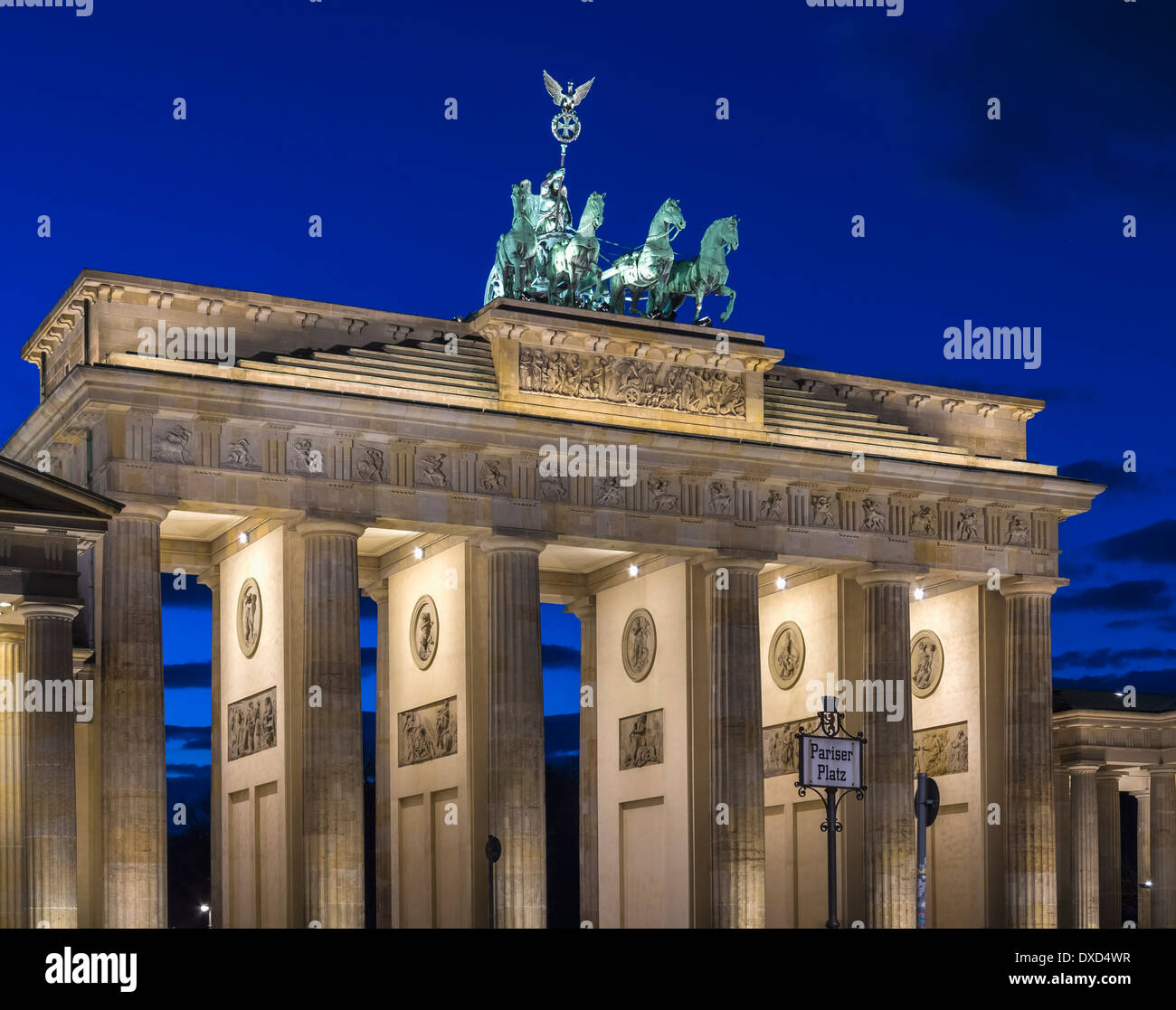 View of the Brandenburg Gate, Berlin at night - Stock Image