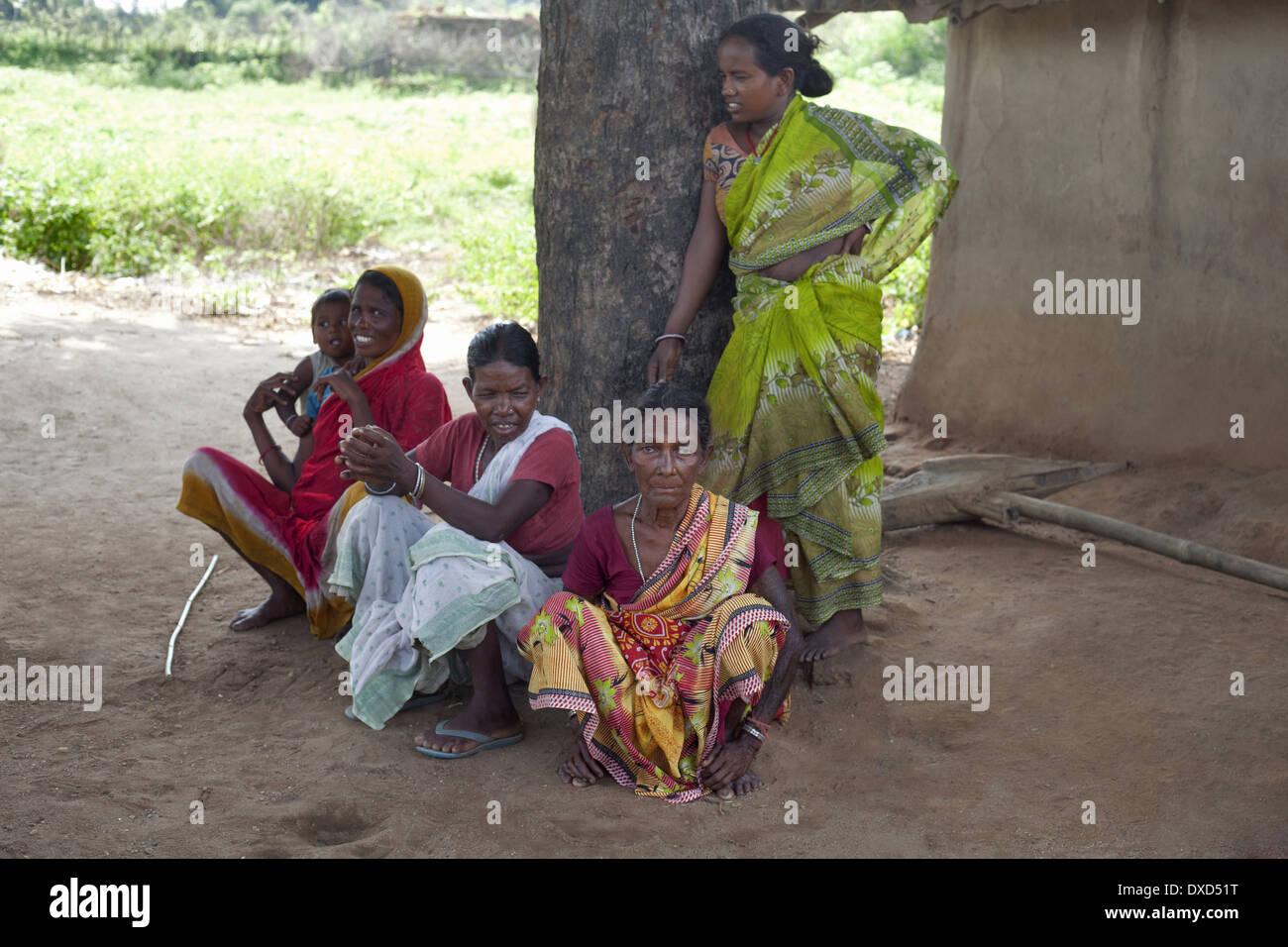 Group of tribal women enjoying lesure time. Soren tribe. Jamuniatand village, Bokaro district, Jharkhand - Stock Image