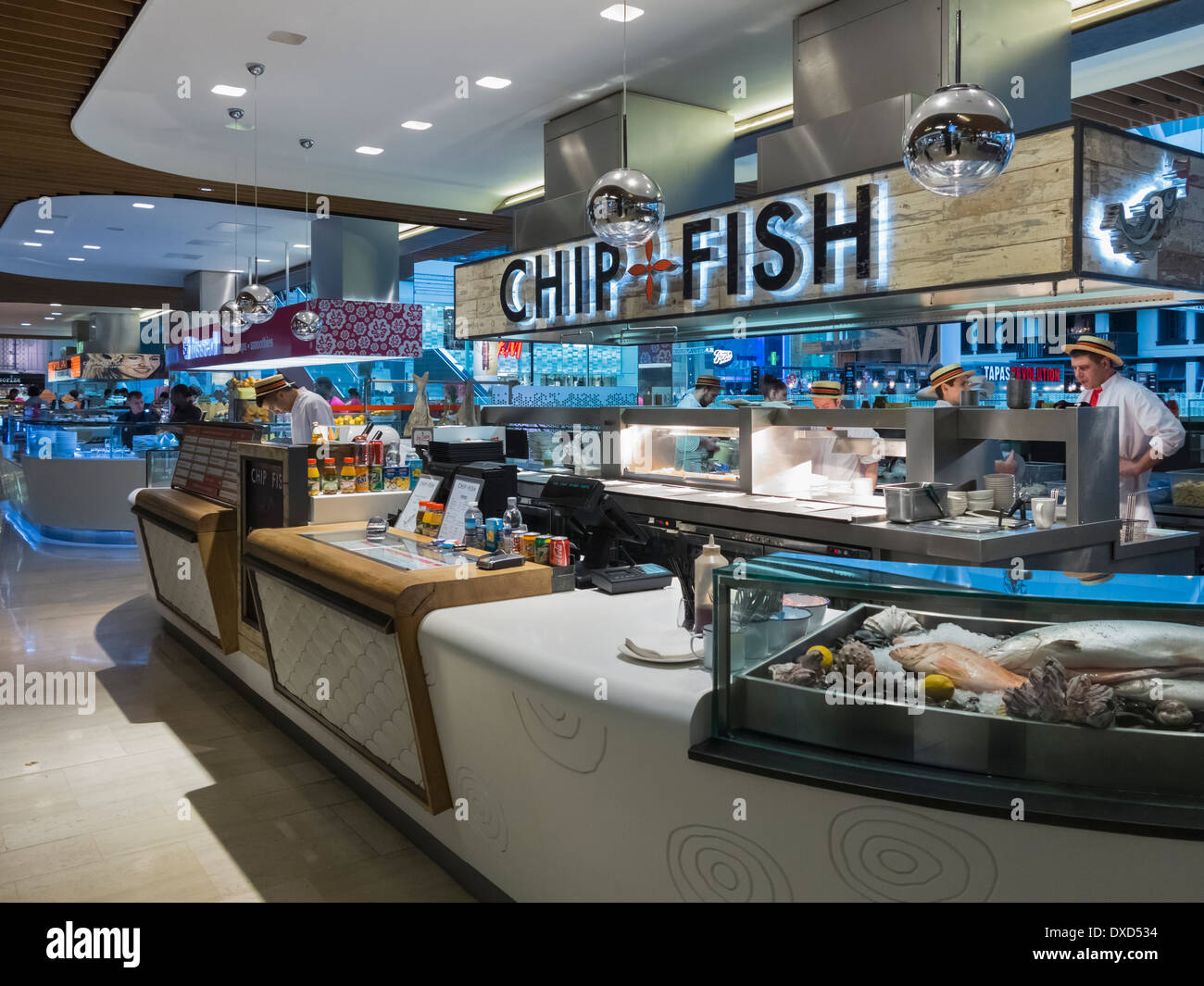 Food Court in Westfield Shopping Centre, West London, England, Uk - Stock Image