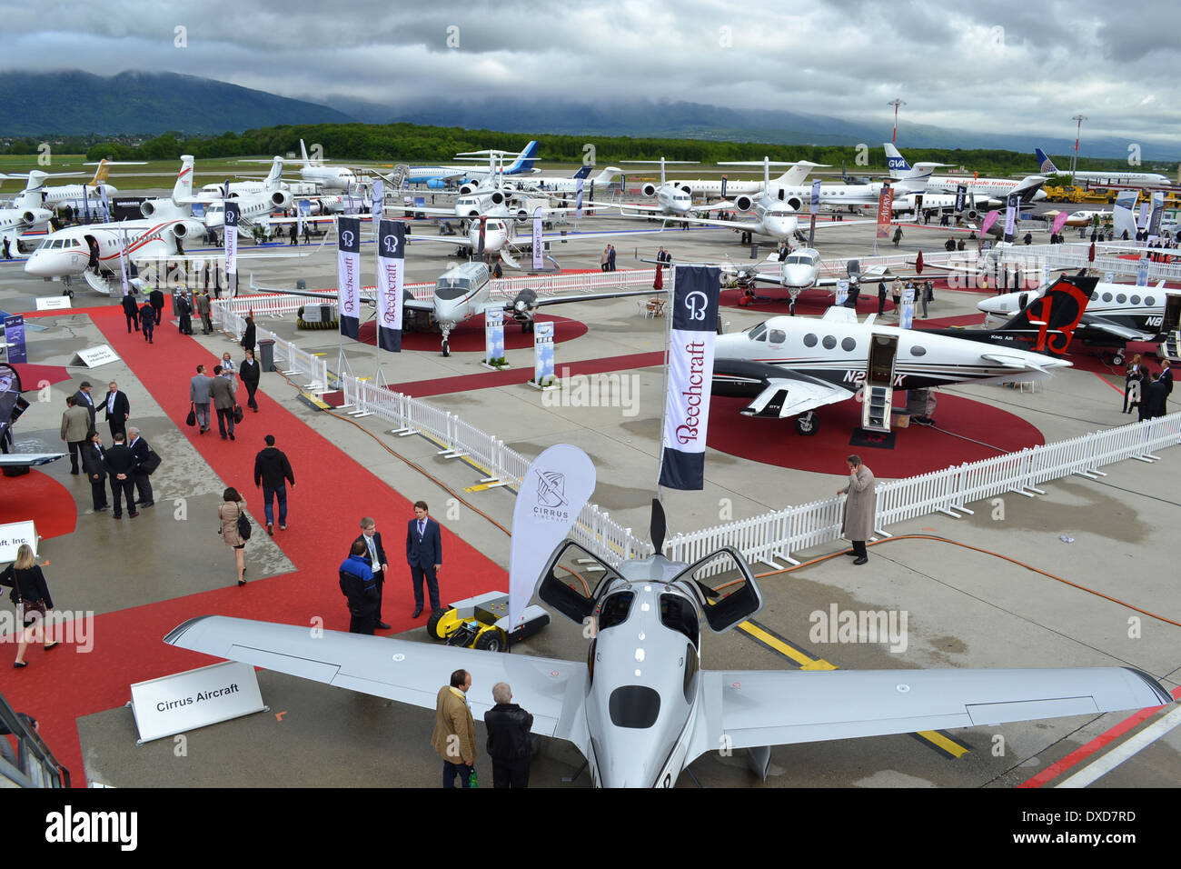 Aircraft at the 2013 Ebace exhibition at Geneva International Airport, Switzerland. Stock Photo