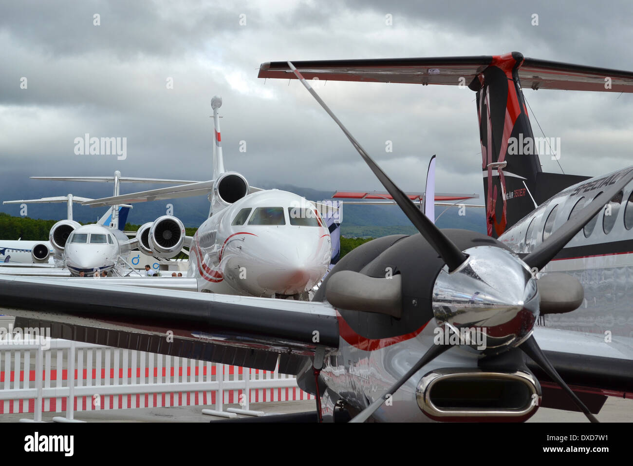 Business aircraft on the static park at the 2013 Ebace show, Geneva - Stock Image