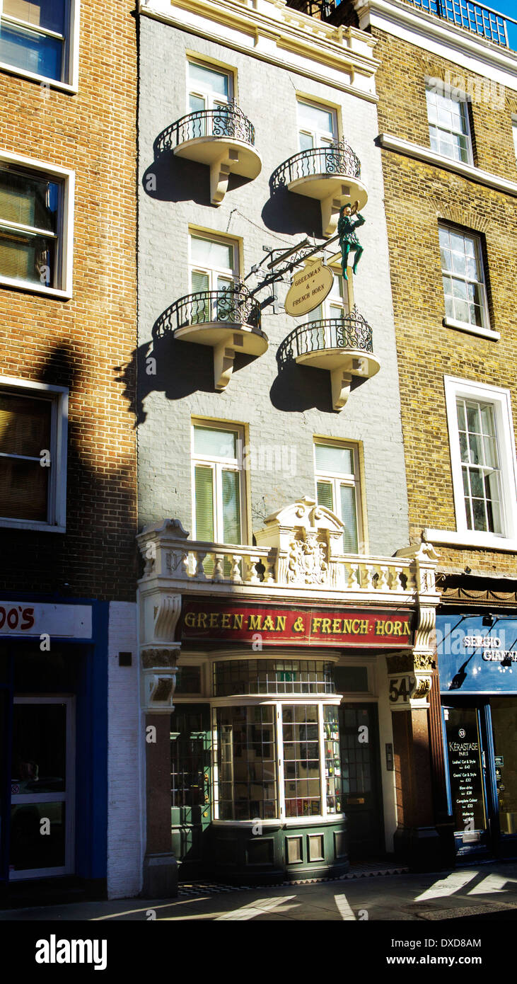 Green Man and French Horn, 54 St Martin's Lane, Central London, England, UK - Stock Image