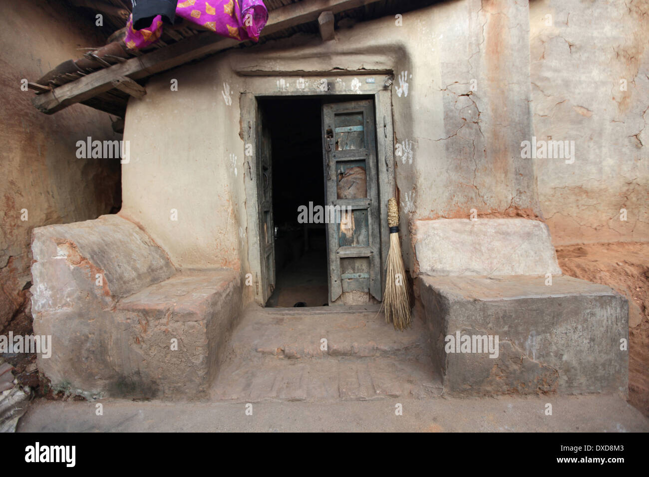 Entrance door of traditional tribal house. Santhal tribe. Jarkatand village, Bokaro district, Jharkhand - Stock Image