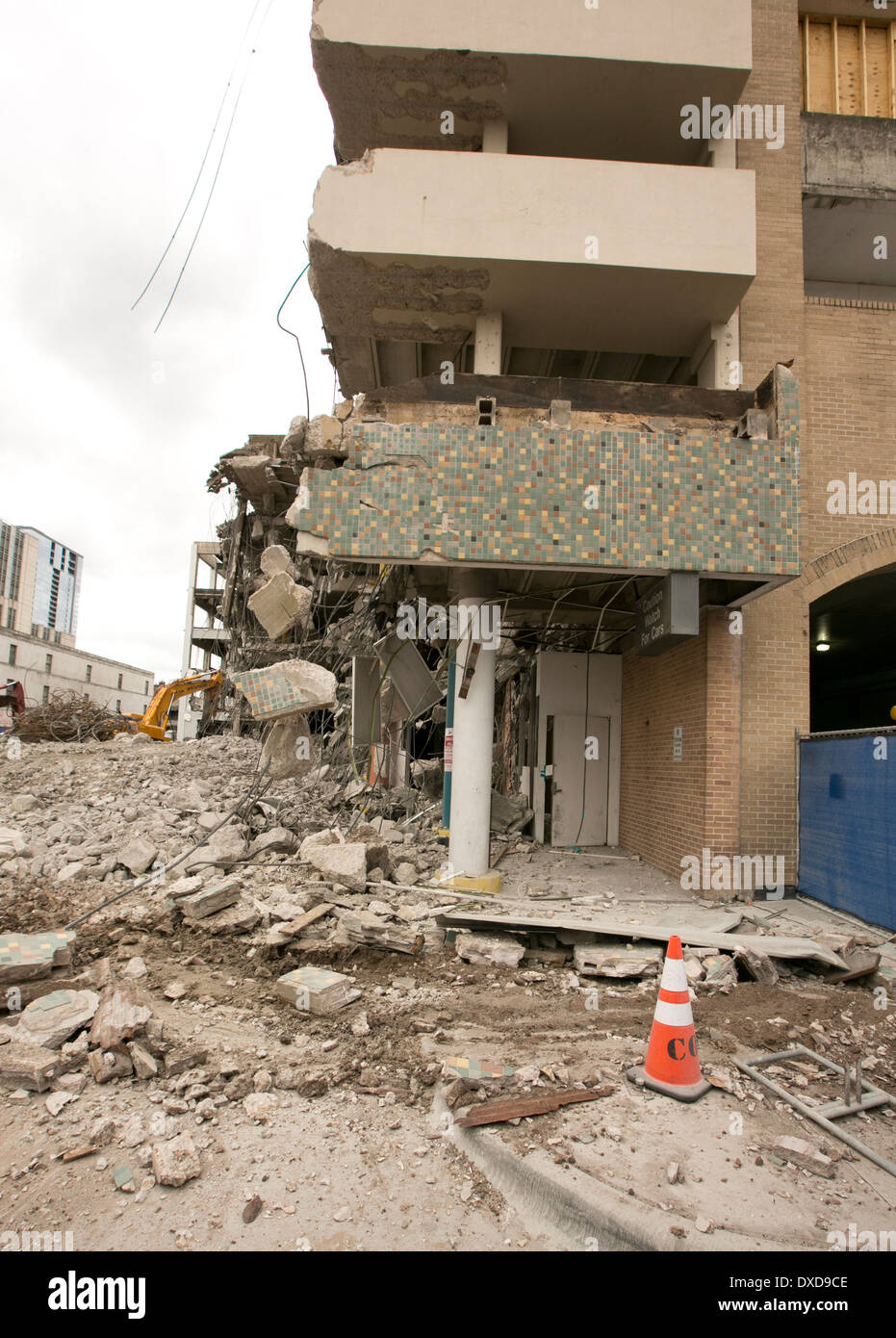partially demolished building in downtown area of Austin, Texas - Stock Image