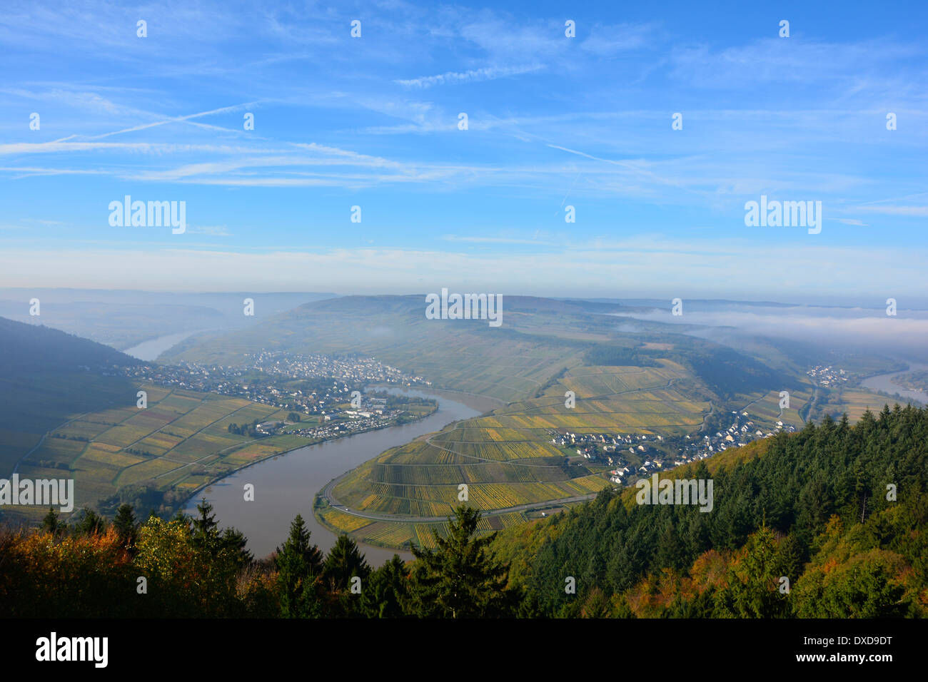 Moselle river valley vineyard landscape with blue sky Germany Blick auf die Mosel Mosellscheife Fünf-Seen-Blick Detzem Stock Photo
