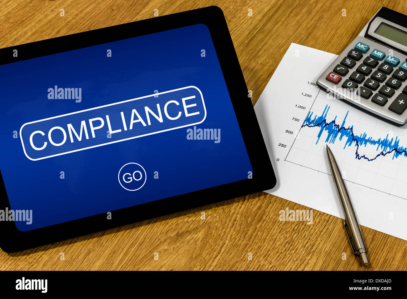compliance word on digital tablet with calculator and