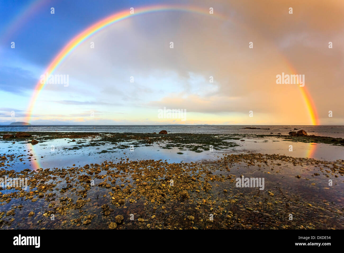 A double rainbow reflects in the pools of water on a west coast beach. - Stock Image