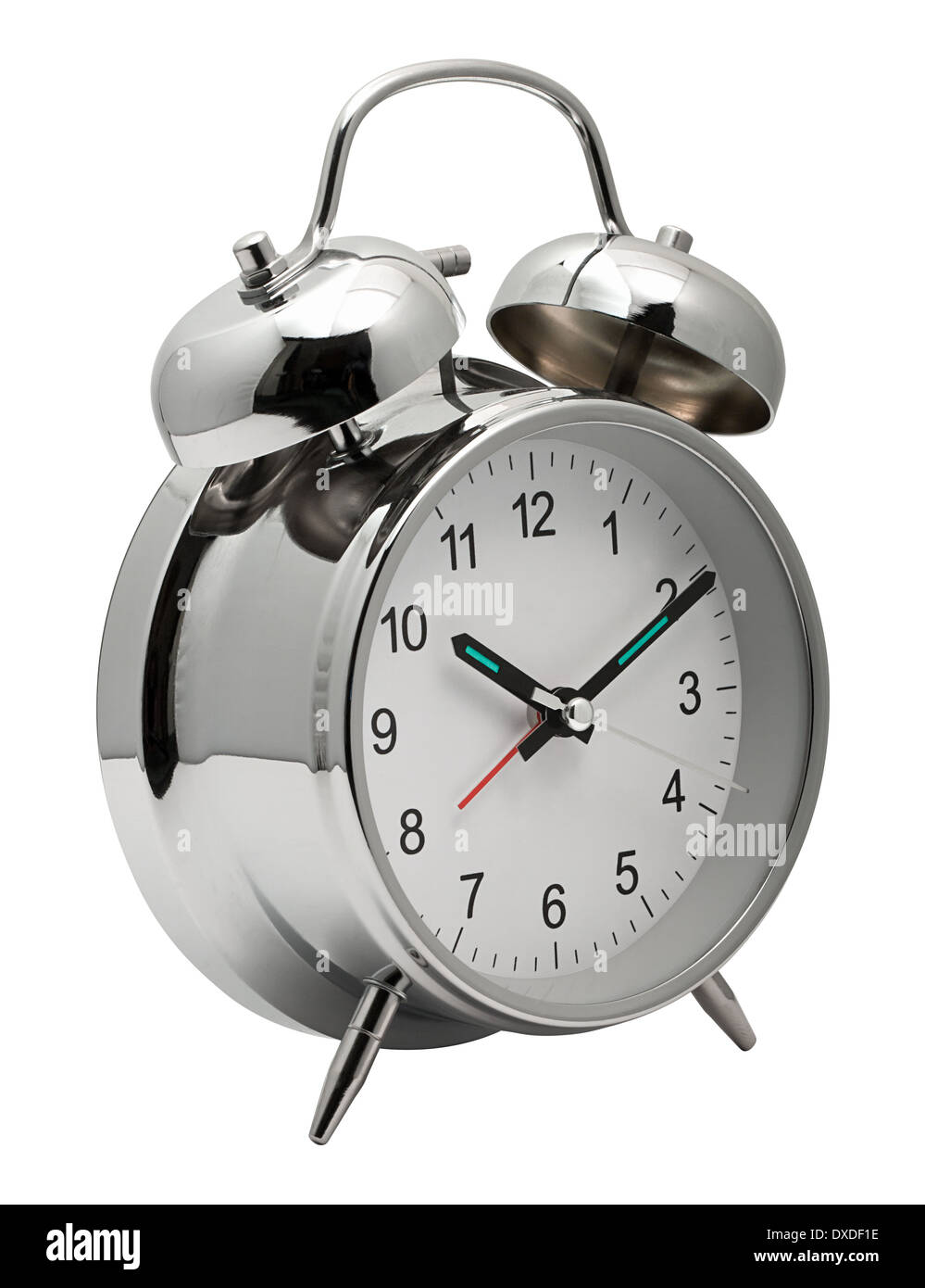 Classic silver chrome Clock with Alarm bells on top to get you out of bed Stock Photo