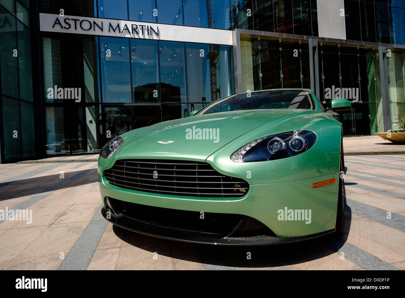 Showroom of Aston Martin luxury cars in Dubai United Arab Emirates - Stock Image