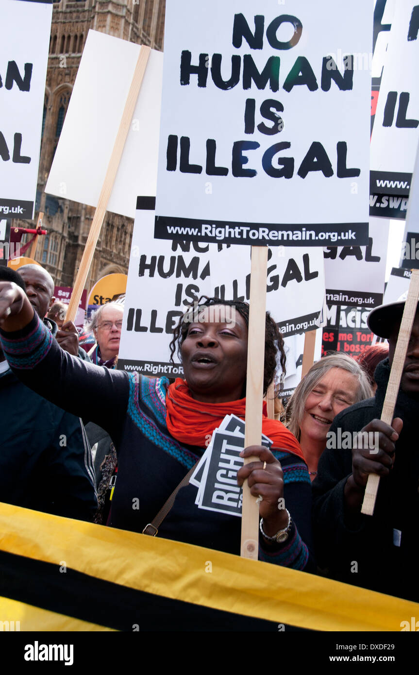 On UN Anti-Racism Day thousands march in London for EU day of Action against racism and scapegoating of immigrants. - Stock Image