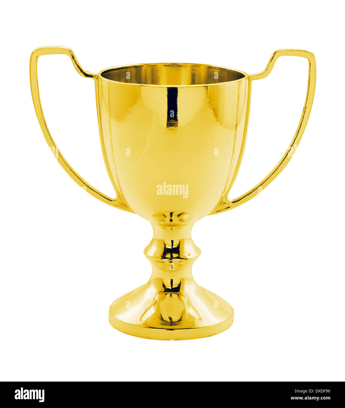 A Gold Winners trophy against a white background great concept for achievement, success or winning a competition or award. - Stock Image