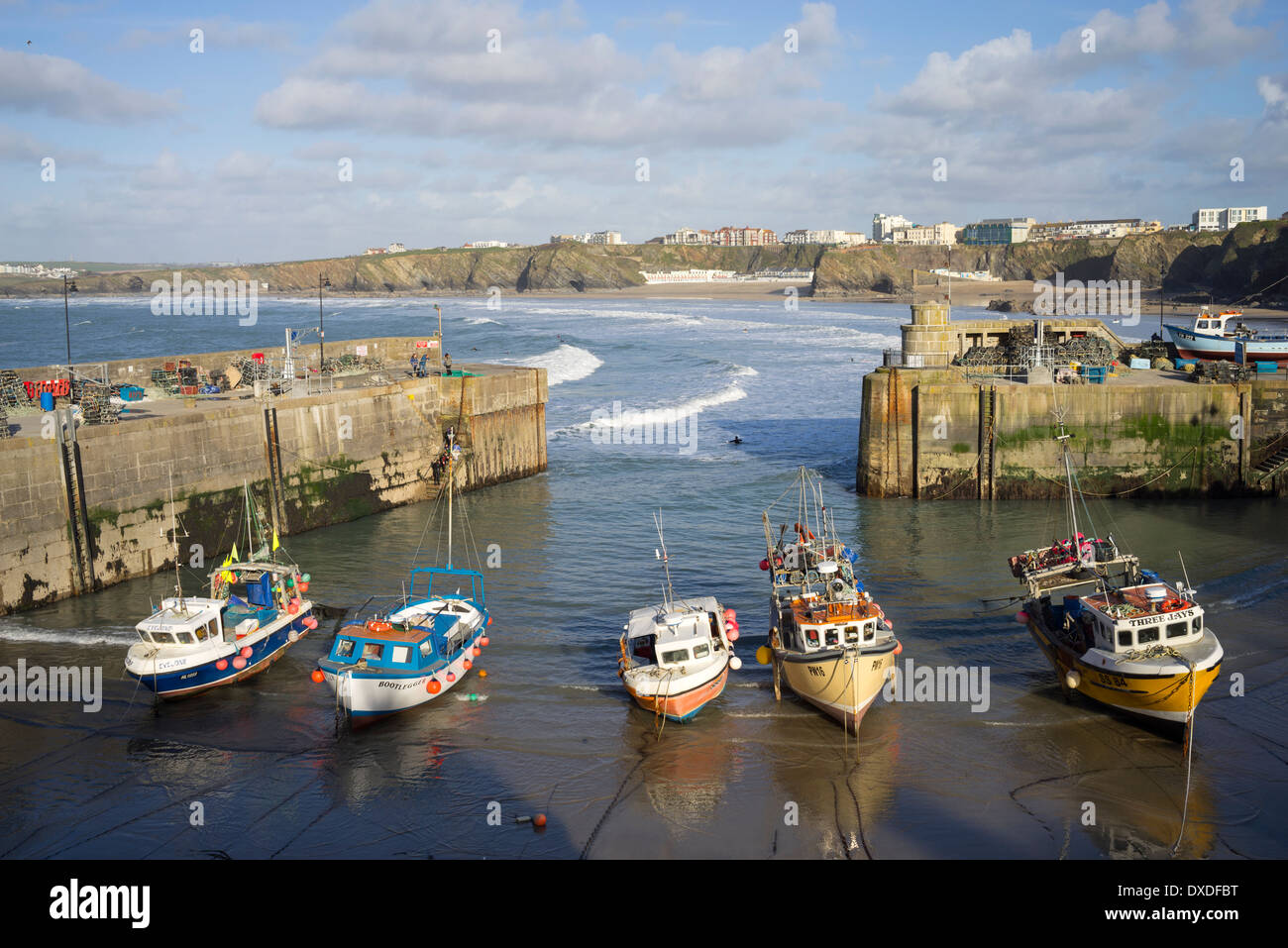 Newquay harbour boats incoming tide, Cornwall England. - Stock Image