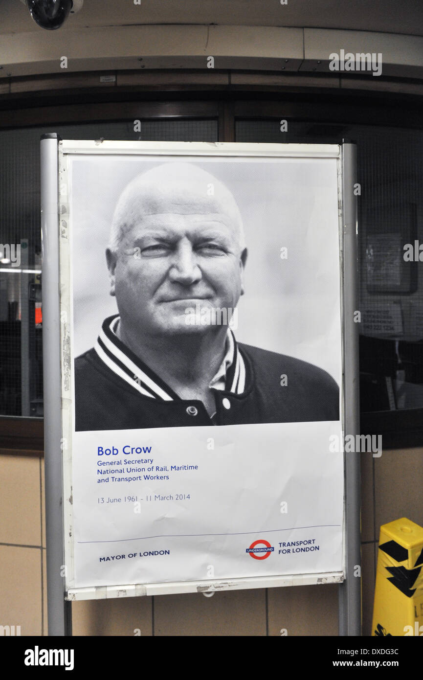 Leicester Square Station, London, UK. 24th March 2014.  A poster of the late Bob Crow General Secretary of the RMT Union in Leicester Square station on the day of his funeral. Credit:  Matthew Chattle/Alamy Live News - Stock Image