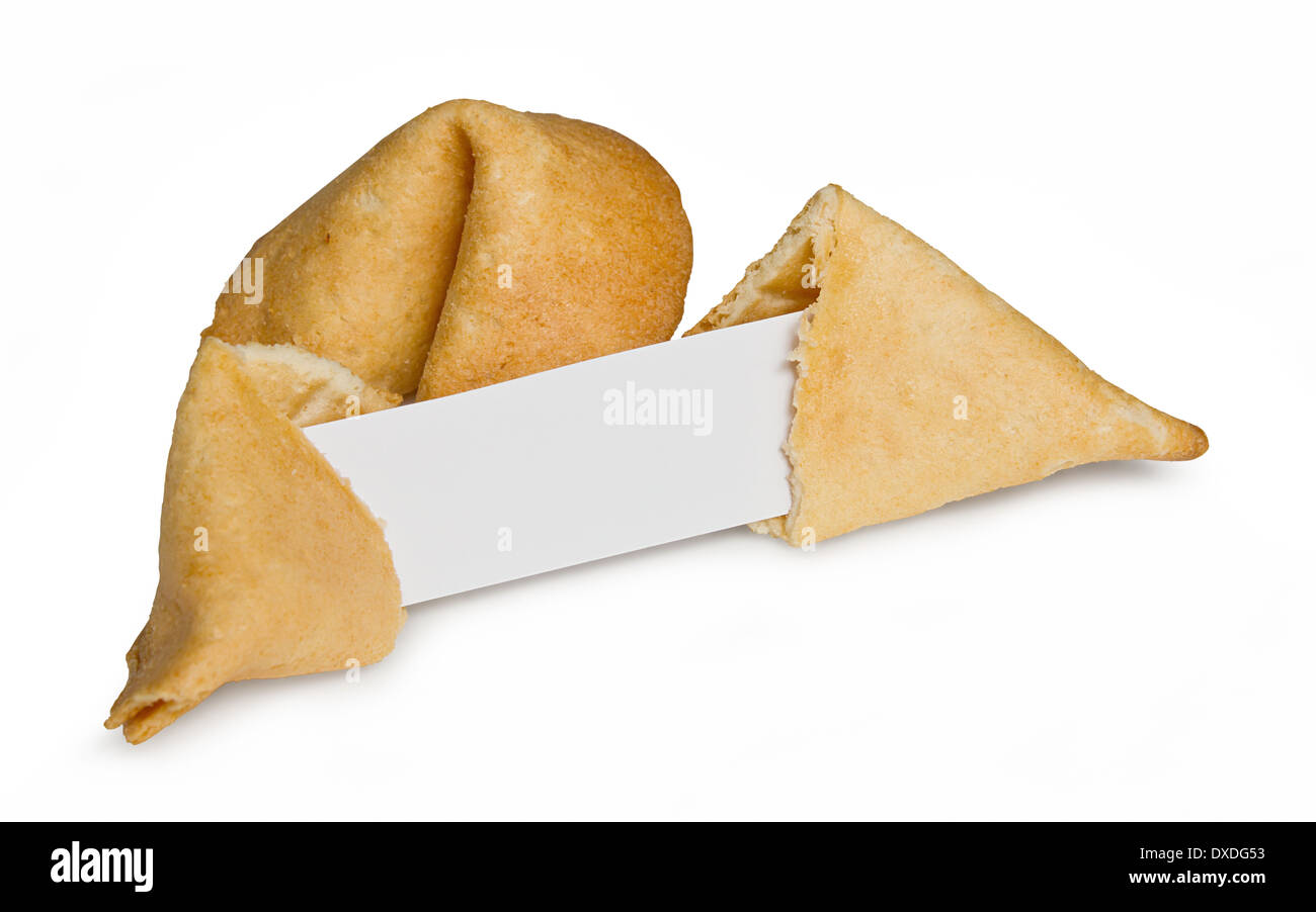 Chinese fortune cookie with blank paper strip for your own good luck message - Stock Image