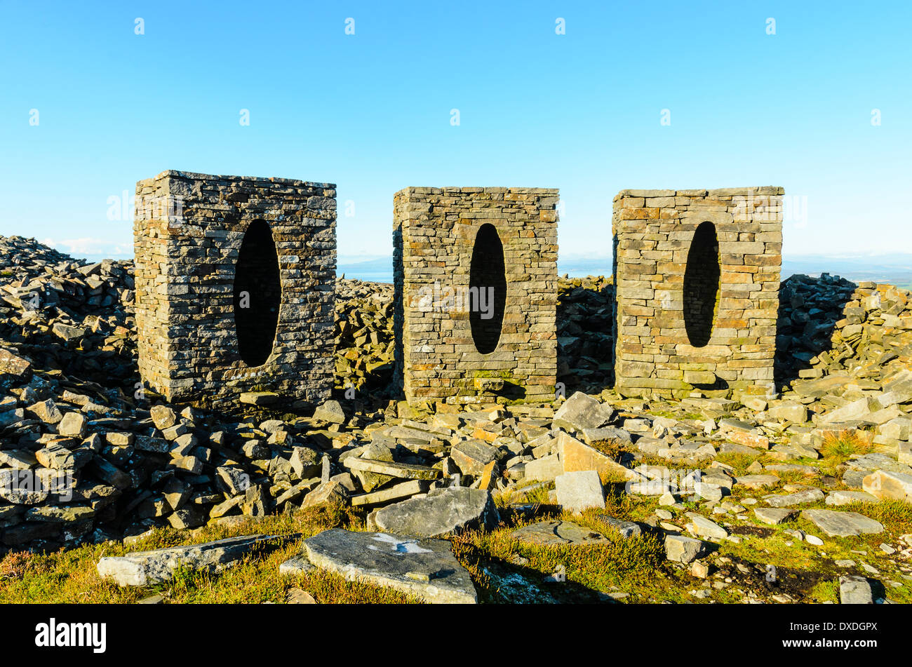 "Andy Goldsworthy artwork ""Clougha Pike"" on the hill of the same name in the Forest of Bowland Lancashire England - Stock Image"