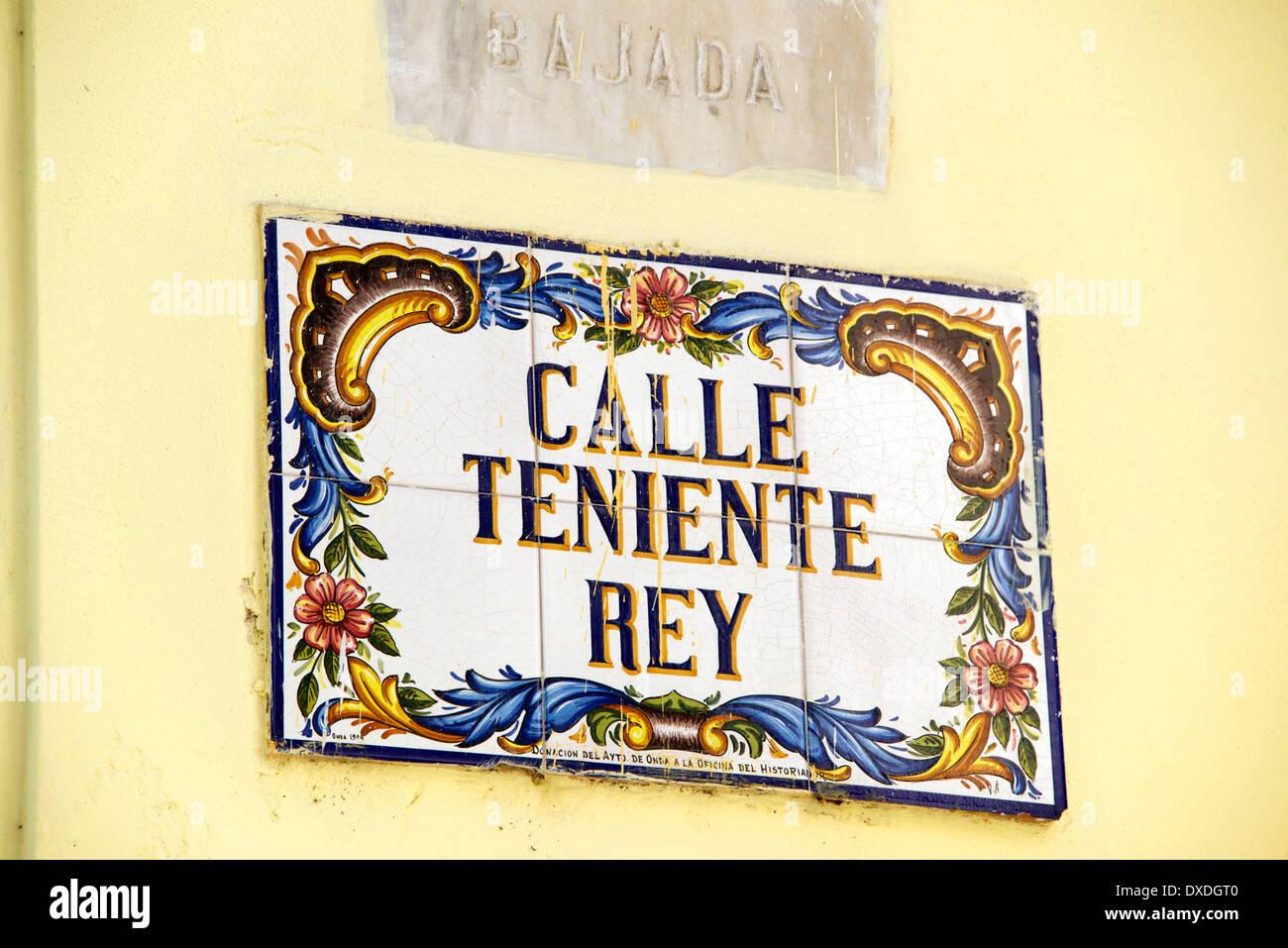 Majolica tile sign Calle Teniente Rey Old Havana Cuba - Stock Image