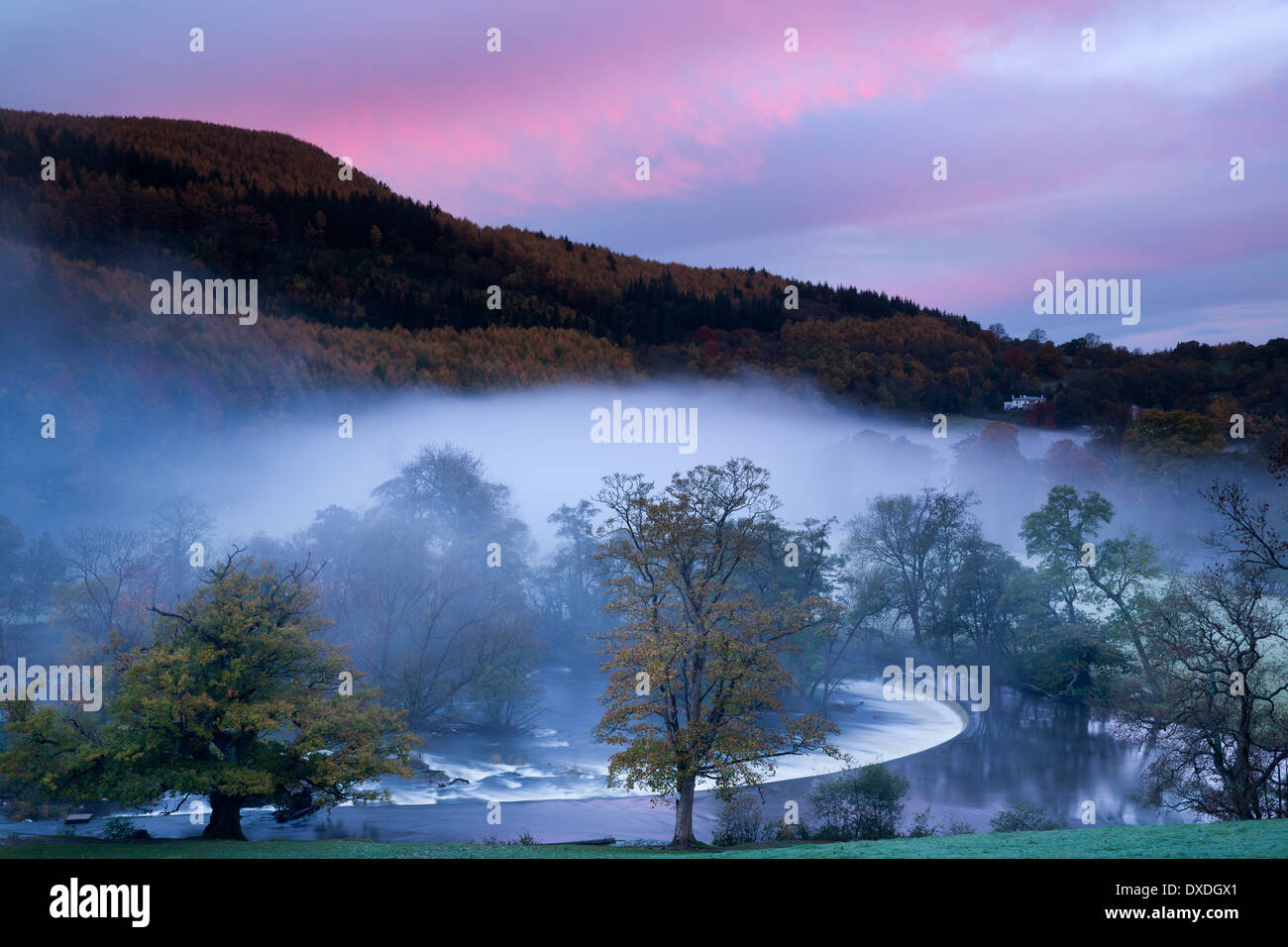 Autumn colours and mist in the Dee Valley (Dyffryn Dyfrdwy) at Horseshoe Falls near Llangollen, Denbighshire, Wales Stock Photo