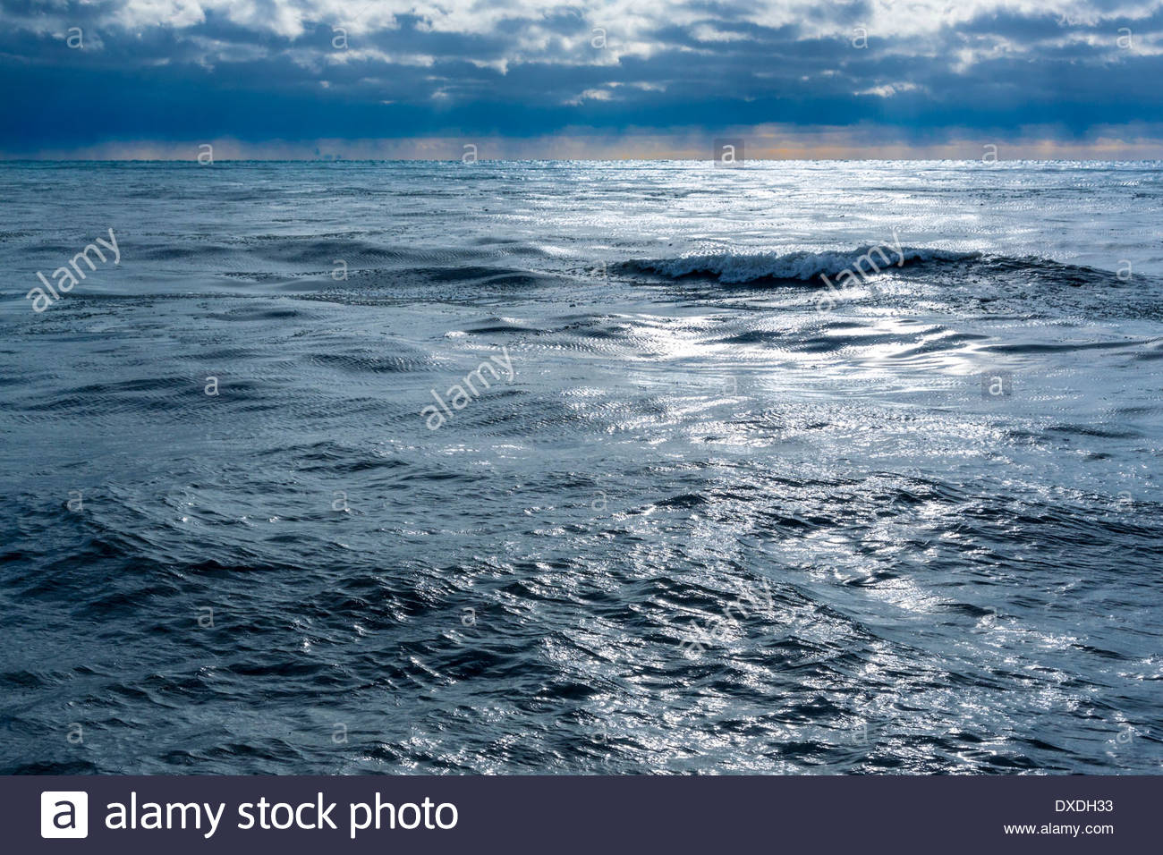 Ominous silvery surface of cold Lake Ontario in winter near the mouth of Highland Creek in Toronto Ontario Canada - Stock Image