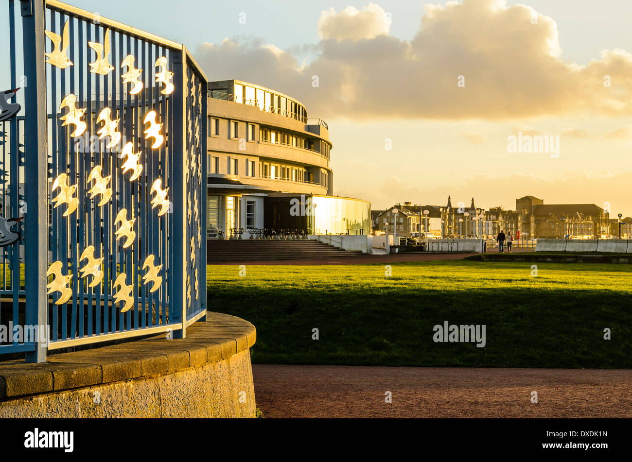 Bird railings and the Midland Hotel in Morecambe Lancashire England - Stock Image