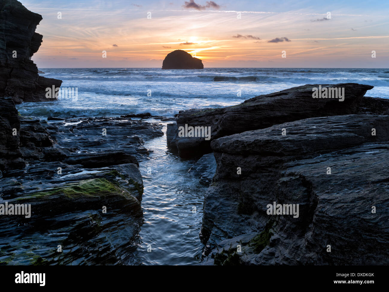 High tide at Trebarwith Strand beach on the north coast of Cornwall - Stock Image
