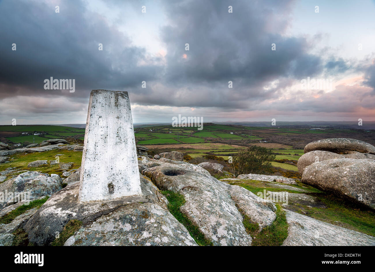 A Trig Point for mappingr triangulation on top of Helman Tor in Cornwall - Stock Image