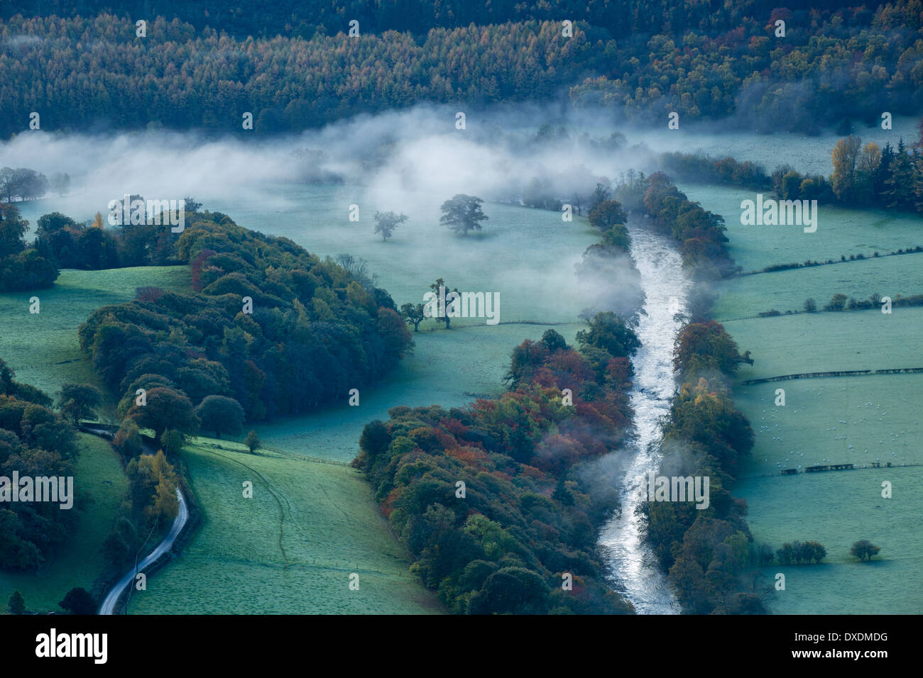 Autumn colours and mist in the Dee Valley (Dyffryn Dyfrdwy) near Llangollen, Denbighshire, Wales Stock Photo