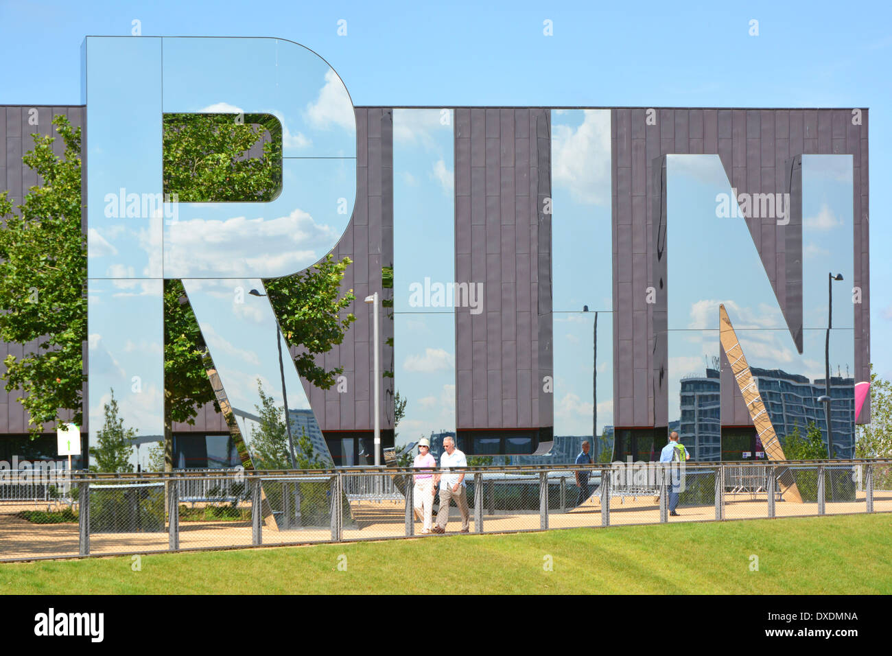 Big reflective letters spelling out RUN outside the CopperBox venue in London 2012 Queen Elizabeth Olympic Park - Stock Image