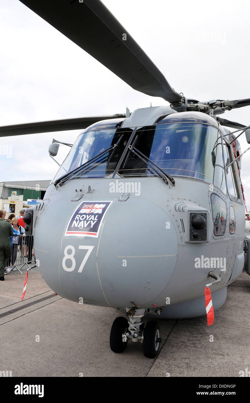 A Merlin Anti Submarine Helicopter on display at the Annual Air Day at RNAS Culdrose near Helston in Cornwall, UK - Stock Image