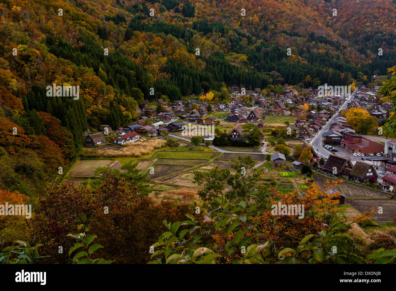 Ogimachi village in the area know as Shirakawa-go is known as a Unesco World Heritage Site - Stock Image