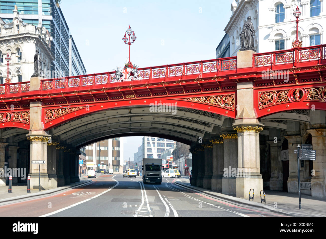 Holborn Viaduct  road bridge crossing over Farringdon Street in City of London (claimed to be first flyover in central London) - Stock Image